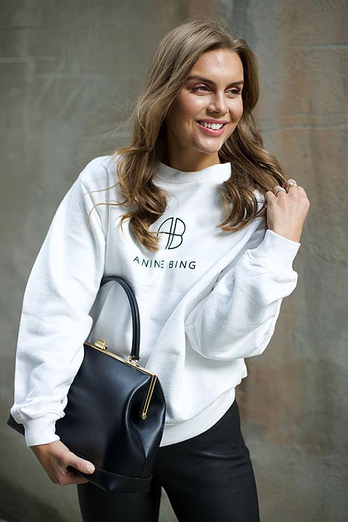 Anine Bing Monogram Sweatshirt White genser