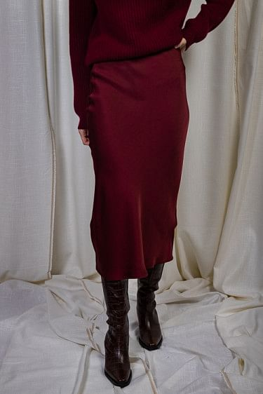 Bar Silk Skirt Burgundy
