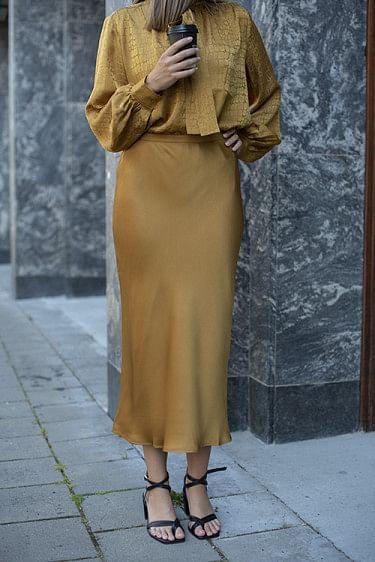 Bar Silk Skirt Bronze