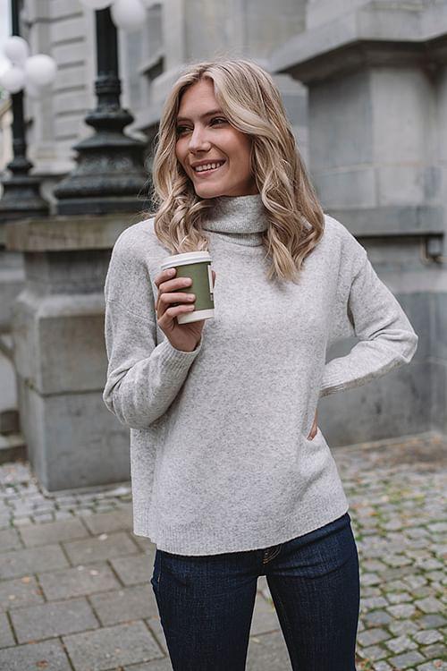 American Vintage Damsville Sweater Heather Grey genser