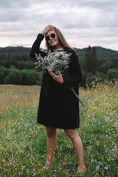 american vintage east dress black kjole