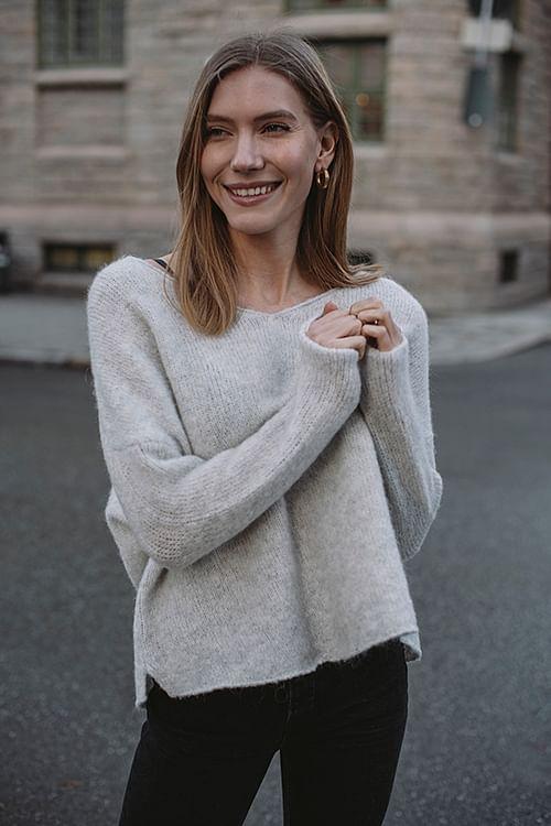 American Vintage Vacaville Sweater Grey Melange genser