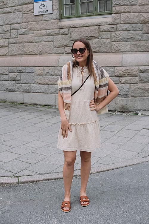 Mandy Texture Dress Ecru