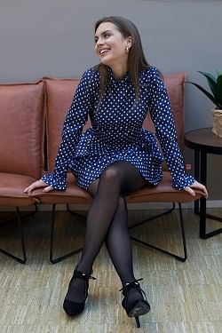 Adyn Dress Blue Cream Polka