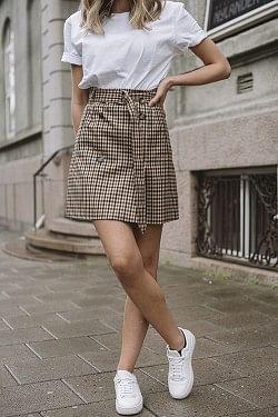 Stacia Skirt Nougat Check