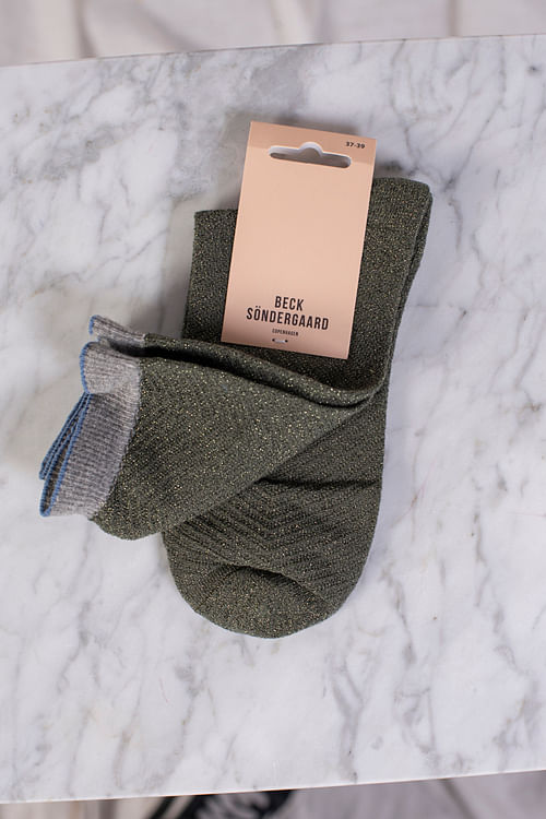 Becksöndergaard Dana Herringbone Frill Sock Army Green sokker