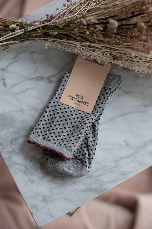 Becksöndergaard Dina Small Dots Grey Melange sokker