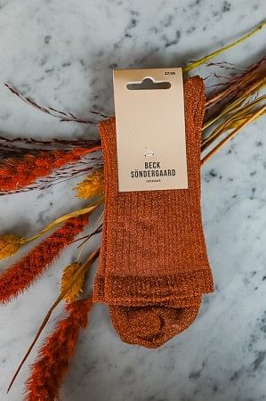 Dina Glitz Socks Russet Orange