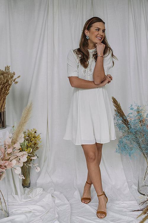 byTiMo Elegant Lace Dress Off White kjole