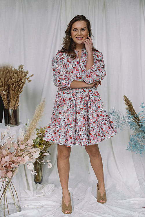 byTiMo Structured Cotton Shift Dress Flower Garden kjole