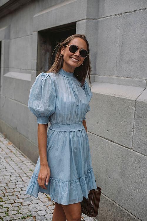 By Timo Victorian Organza Smocking Dress Light Blue kjole