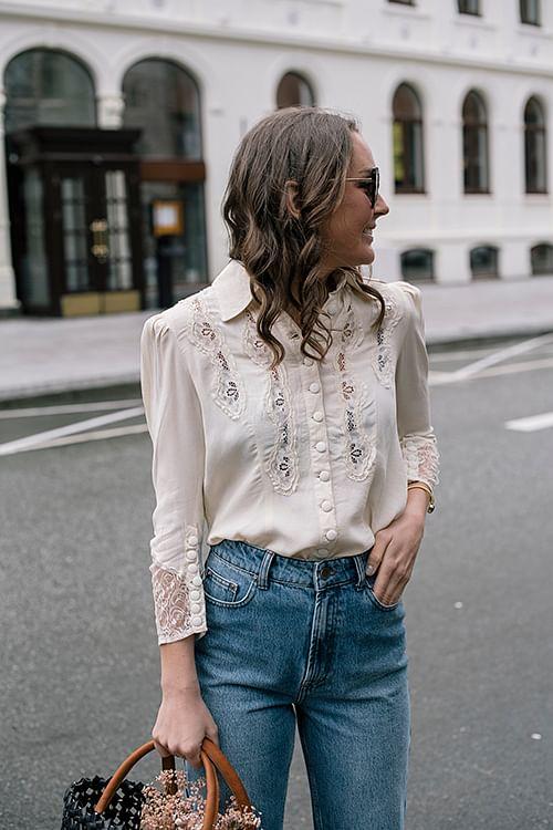 byTiMo Elegant Lace Shirt Creme bluse