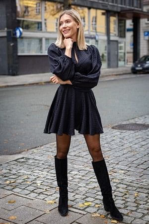 Satin Jaquard Bell Sleeve Dress Black