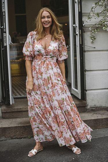 Chiffon Gown Lilac Bouqet
