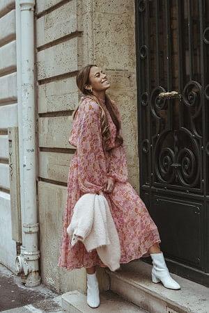 Chiffon Midi Dress Pink Garden
