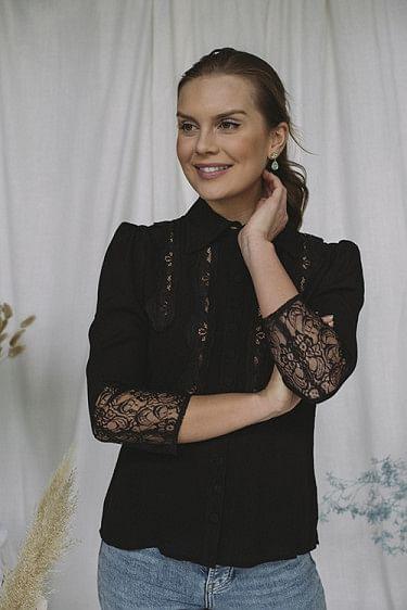 Elegant Lace Shirt Black