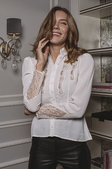 Elegant Lace Slim Shirt Off White