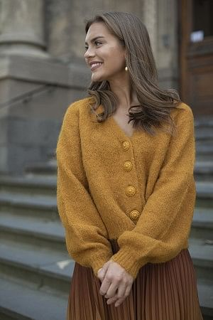 Hairy Knit Cardigan Golden Mustard