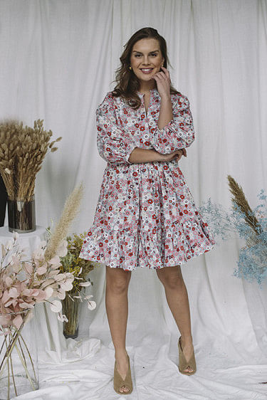 Structured Cotton Shift Dress Flower Garden