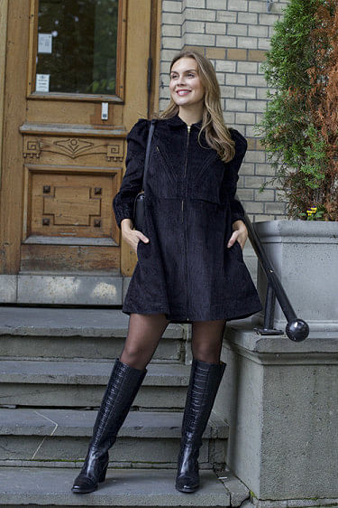 Corduroy Mini Dress Black