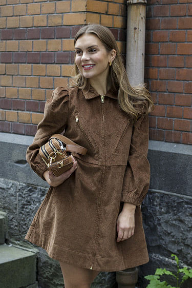 Corduroy Mini Dress Brown