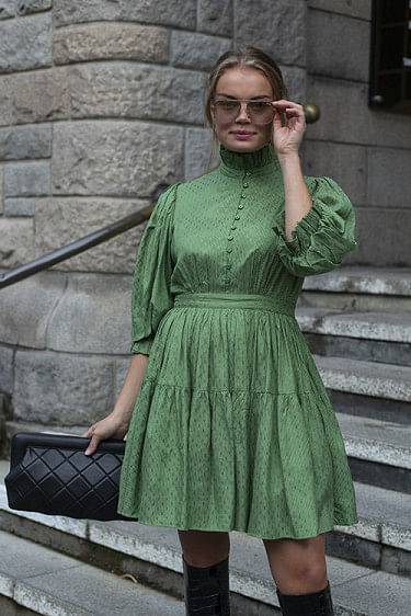 Delicate Mini Tulle Dress Green Dots