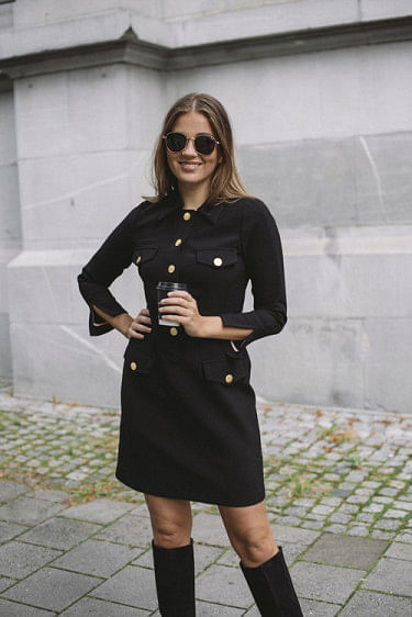 Tailored Mini Blazer Dress Black