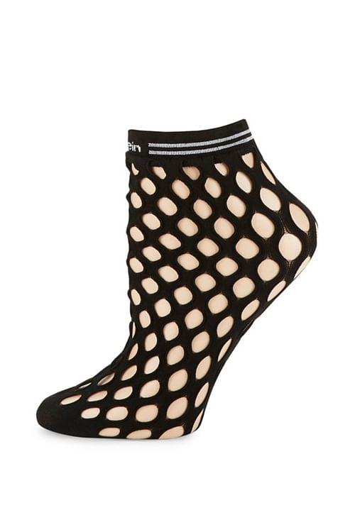 Calvin Klein Mimi Fishnet Logo Anklet Black sokker