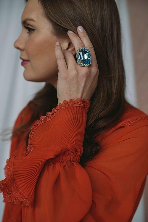 Caroline Svedbom Alexa Ring Gold Aquamarine ring