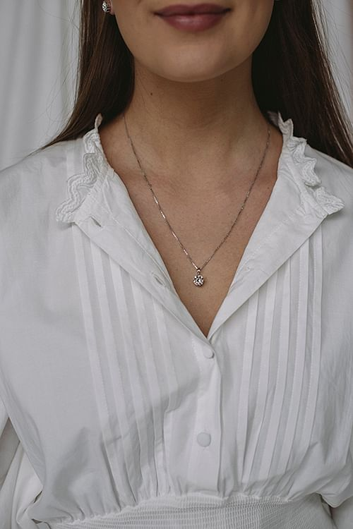 Classic Petite Necklace Silver Rhodium/Crystal