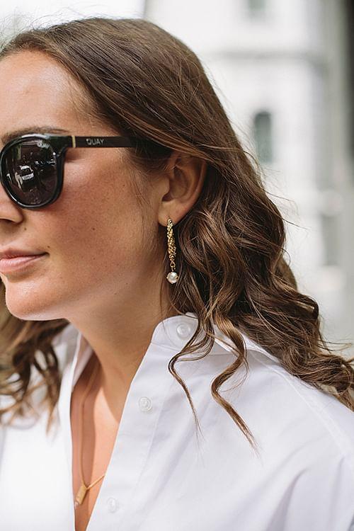 Elena Earring Gold Pearl