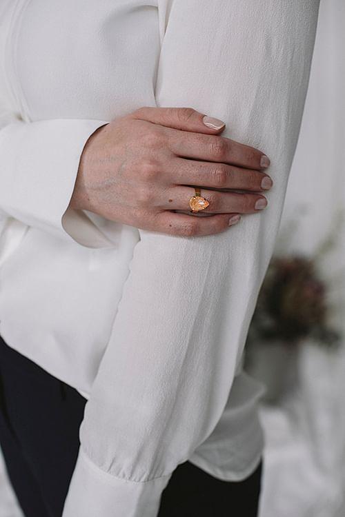 Caroline Svedbom Mini Drop Ring Gold Peach Delite