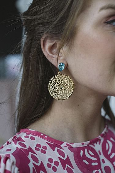 Alexandra Earring Gold Light Turquoise