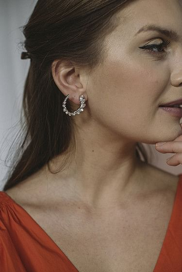 Angie Earrings Silver Rhodium Crystal