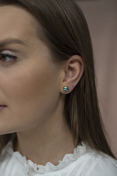 Classic Stud Earring Gold Light Turquiose