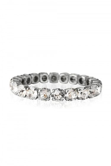 Gia Stud Bracelet Rhodium Crystal