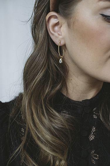Nani Earring Gold Crystal
