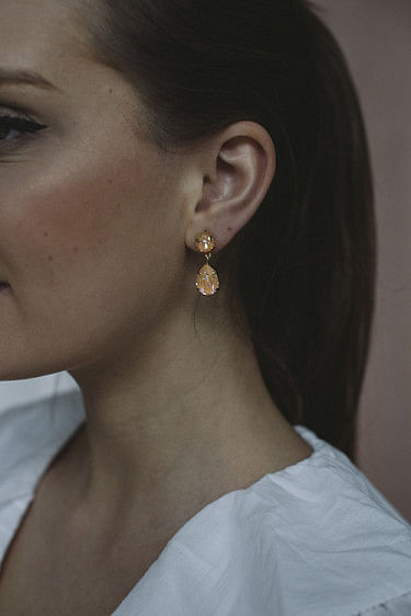 Mini Drop Earring Gold Peach Delite