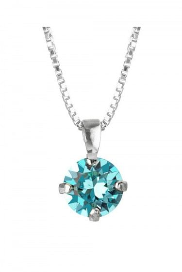 Classic Petite Necklace Rhodium Light Turquoise