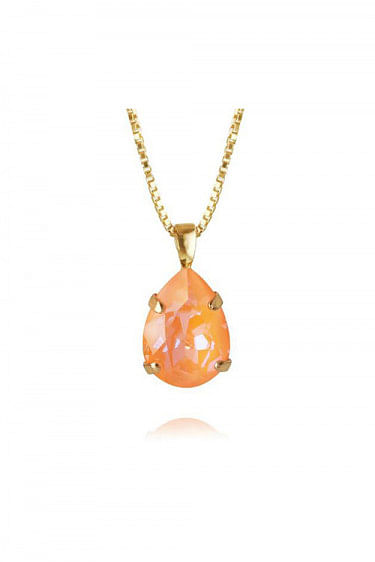 Mini Drop Necklace Gold Peach Delite
