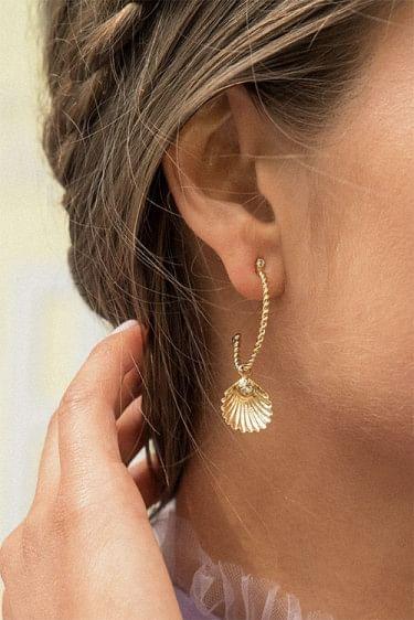 Nani Shell Earring Gold Crystal