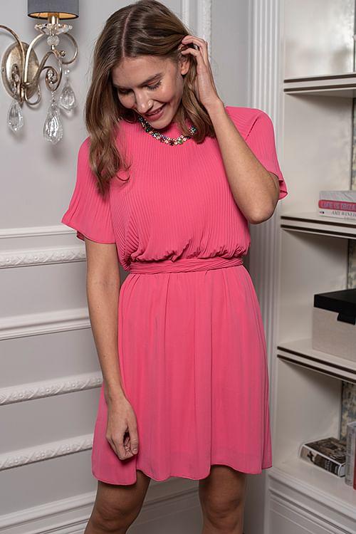 Cathrine Hammel Miami Dress w/Short Sleeves Poppy Pink kjole