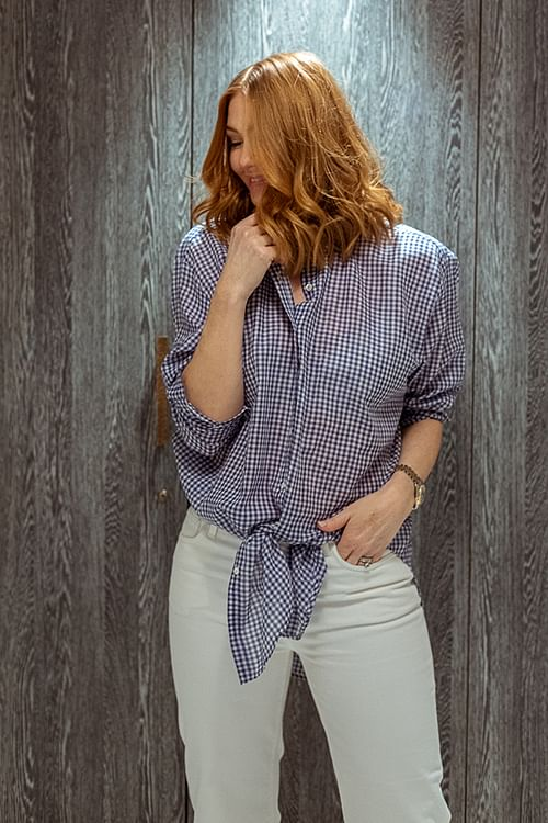 Cathrine Hammel Checks Over Size Shirt Morning Blue skjorte
