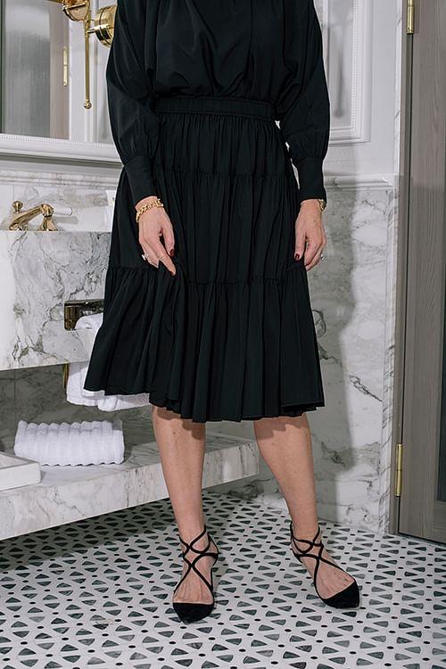 Multi Peplum Midi Skirt Black