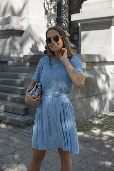 Miami Dress w/Short Sleeves Sky Blue