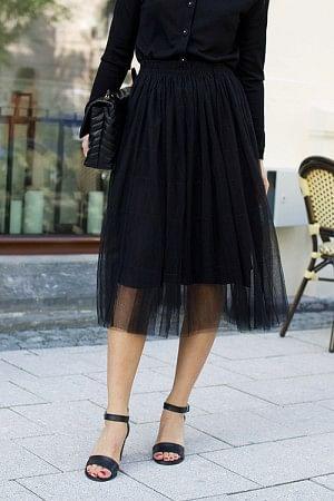 Midi Tulle Skirt Black