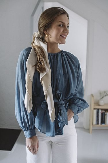 Sheer Boatneck Blouse Denim Blue