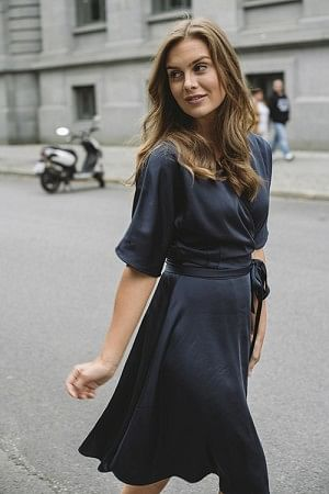 Osaka Wrap Dress Navy