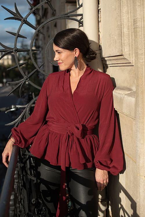 confettibird Birdie Bow Wow Blouse Burgundy bluse