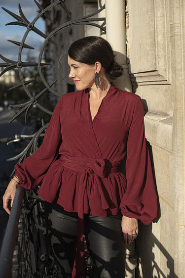 Birdie Bow Wow Blouse Burgundy